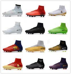 Nouvelle chaussure de foot football en Ligne-2019 nouveaux chaussures de soccer pour hommes Crampons de CR7 enfants chaussures de football Crampons assassin chaussures rétro crampons AG Mercurial Ronaldo 3 Transactio