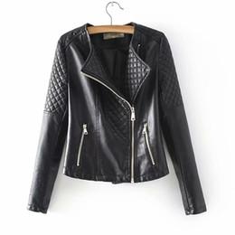 Veste en cuir à vin en Ligne-2019 automne nouvelle forme de diamant pour les femmes slim veste en cuir PU veste de moto veste courte femme rose noir vin rouge