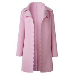 сладкие элегантные пальто Скидка Женская мода Сладкий волнистый край дизайн отворот длинный кардиган куртка дамы элегантный розовый с длинным рукавом плащи и пиджаки