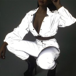 encaje negro chaqueta con cuentas corta Rebajas 2018 Mujeres Sexy Chaquetas Botón Reflexivo Navel Bare Tops Recortados Cintura Con Cordones Chaqueta Turn Down Collar Señoras Abrigos prendas de vestir exteriores