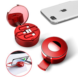 Support c en Ligne-3 en 1 Micro USB de type C Câble câble rétractable avec miroir caché Chargeur USB Câbles Makeup Box Macaron Phone Holder Support