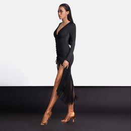 ropa sexy para bailar Rebajas Traje de baile latino Práctica Sexy Ropa de borla de longitud ajustable Vestido de mujer Rumba / Tango Performance Clothing DQL1363