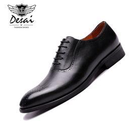 Полные кожаные ботинки онлайн-Desai British Style Handmade Genuine Leather Formal Suit Dress Shoes Cow Full Grain Leather Brogue Carved Shoes Men Oxfords