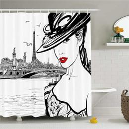 desenho menina moda Desconto Moda casa decoração cortina de chuveiro mão desenhada menina em maquiagem pelo rio Sena em Paris imagem de vida europeia, tecido banheiro decoração conjunto