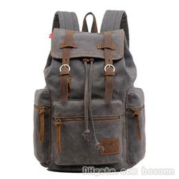 Vintage Canvas Leather Backpack Hiking Daypacks Laptop Backpacks Unisex  Casual Rucksack Bookbag for Men Women Five Colors 178a16545e1ae