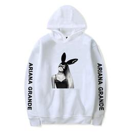 sweatshirt kaninchen ohr Rabatt XXS-4XL Ariana Grande Hoodie Mädchen Kaninchen Ohren Gedruckt Lange Ärmel Innen Fleece Lässige Pullover Hoodies Sweatshirt Jacke Top
