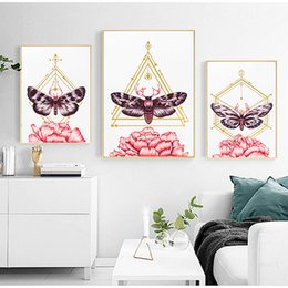 butterfly art prints Promo Codes - YUMEART Nordic Art Poster Butterfly and Pink Flowers Picture Modular Wall Art Prints Oil Painting Living Room Modern Home Decor