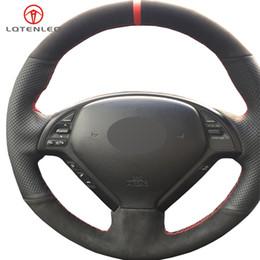 2019 автомобиль g37 LQTENLEO Черная кожа замши DIY Крышка рулевого колеса автомобиля DIY для Infiniti G G25 G35 G37 EX EX35 EX30 EX37 Q Q40 Q60 QX50 2014-2018 дешево автомобиль g37