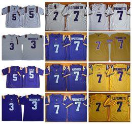 2019 trajes brancos NCAA Homens LSU Tigers Camisolas de Faculdade Futebol 3 Odell Beckham Jr 5 Derrius Guice 7 Leonard Fournette 7 Costurado Costume Roxo Amarelo Branco trajes brancos barato