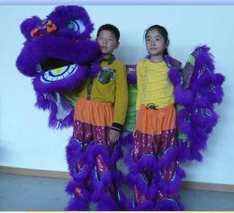 2019 trajes de mascote de tamanho infantil Vivo roxo kid new Lion Dance traje da mascote teatro ao ar livre dias de natal desfile de lã do sul do leão tamanho adulto traje popular chinês