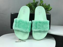 zapatillas de menta verde Rebajas Zapatillas Rihanna Leadcat Fenty Fur 2019 Rosa Blanco Púrpura Gris Diapositivas en negro y verde menta