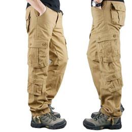 Wholesale 2019 novas calças dos homens táticos khaki cargo calças casuais calças de algodão tamanho grande dos homens soltos calças de esportes ao ar livre