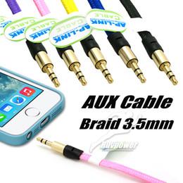 paquete de jack Rebajas Nuevo Braid 3.5 mm Car Audio Jack de auriculares PC iPad Cable auxiliar macho a macho Cable AUX Cable de audio estéreo sin paquete