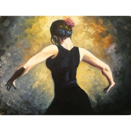 Dipinti ad olio di ballerino di flamenco online-Art Gift beautiful girls oil paintings Proud Flamenco Dancer- arredamento camera da letto dipinto a mano