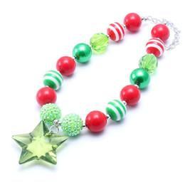 weihnachtsbubblegum perlen Rabatt Stern Anhänger Weihnachten Kind klobige Halskette Weihnachtsgeschenk Kleinkinder Mädchen Bubblegum Bead klobige Halskette Schmuck Geschenk für Kinder
