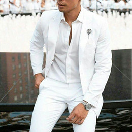 2019 abendkleider rotwein silber Sommer Weiß Leinen Bräutigam Smoking Hochzeitsanzüge für Männer Blazer Jacke Slim Fit Kostüm Homme 2 Stück Neuesten Mantel Hosen Design Terno Masculino