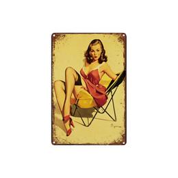 Pitture di arte sexy della ragazza online-classico retrò vintage bionda bellezza ragazza sexy Targa in metallo per esterni Wall Art decorazione Bar Metal Paintings