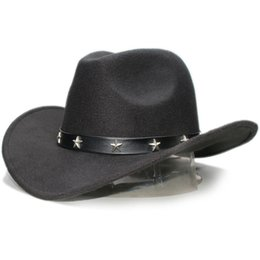 Retro Star Leather Band Parent-child Unisex Adult Kid Wool Wide Brim Cowboy  Western Hat Cowgirl Bowler Cap (57cm 54cm