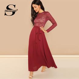 f809d7925 Sheinside Sheeride Floral encaje Patchwork gasa vestido de fiesta mujer  primavera elegante de cintura alta Maxi vestidos una línea de vestido de  cintura