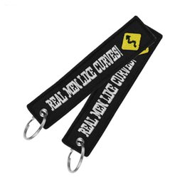 keychains tags Promo Codes - 26 Styles Motorcycle Keyring REMOVE BEFORE FLIGHT Lanyard Keychain Embroidery Letters Keychains Women Men Baggage Tag Bag Car Key Ring M216F