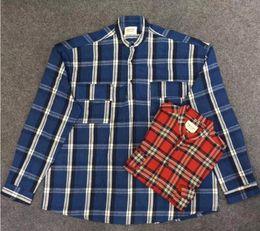 Camisa azul de cuello mandarín online-KATHY Fear of God 6ª temporada Pullover Henley rojo azul A cuadros Ropa camisa Alta calidad Streetwear Cuello alto Camisa de manga larga S - XL