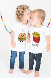 Ropa de niños franceses online-Verano camiseta del bebé venta caliente mejor amigo de manga corta camiseta blanca hamburguesas creativas papas fritas impresas bebé niño niña ropa de verano