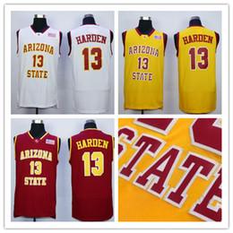 Fãs amarelos on-line-13 James Harden Faculdade Jerseys Arizona State Sun Devils Jersey Homens Basketball Team Vermelho Longe Amarelo Branco Para Os Fãs de Desporto Frete Grátis