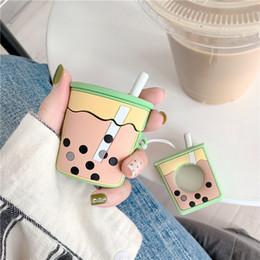 Chá dos casos on-line-Stereo pearl milk tea casos de proteção para apple airpods capa de fone de ouvido sem fio bluetooth set anti-queda de manga de silicone