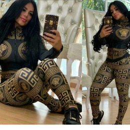 Argentina 2019 hot New Women Fashion Print Zipper Neck Sweatsuit Casual Slim Chaqueta de béisbol y pantalones Set Lady Outfits AA8146 Suministro