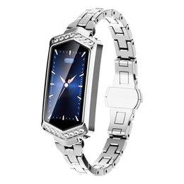 schrittzähler silber armbänder Rabatt Hot 3C-B78 Smart Watch Frauen Fitness Armband Herzfrequenz-Monitor Tracker Pedometer Blutdruck-Sauerstoff-Smartwatch - Silber