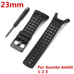 23mm correa de silicona negra correa de reloj deportivo pulsera hebilla con herramienta para Suunto / Ambit 3 Peak / Ambit 2 accesorios de reloj desde fabricantes