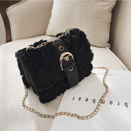 fbec8d923d78 2019 new Korean version of the shoulder slung rhombic embroidered line  chain bag fashion rabbit hair small square bag