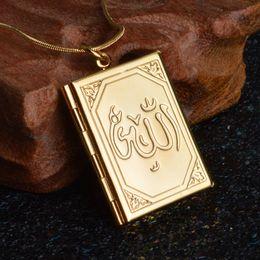 Vintage silber-medaillons online-Speicher Medaillon Anhänger Vintage Gold / Silber Farbe Foto Medaillon Anhänger Halskette Muslim Islamischer Schmuck Kragen