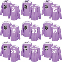 La kings hockey jersey джерси онлайн-Лос-Анджелес Кингс хоккей бои Рак практика 11 Анзе Копитар 23 Дастин Браун 32 Джонатан Квик 8 Дрю Даути Габорик фиолетовый Джерси