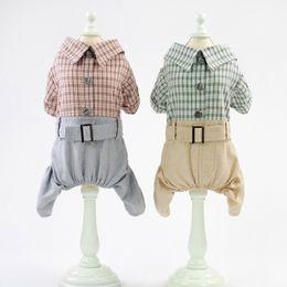 Roupas grã-bretanha on-line-Calças Grã-Bretanha Plaid Pet Jumpsuit Cowboy Bib Dog Lazer Mantas camisa pant 4-Legged Clothes Set Para Dog Boy