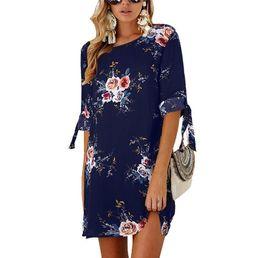 Vestido de las mujeres de la vendimia vestido estampado floral manga del murciélago playa vestidos bohemios Kimono Ladies O cuello borla verano Boho vestido desde fabricantes