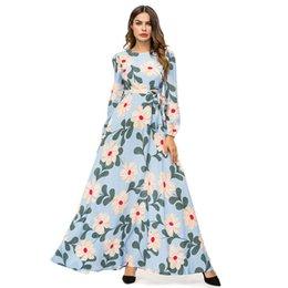 1e021f1dc0 Elegant Women Floral Long Dress Light Blue Print Maxi Dresses Urban Casual  Muslim Ramadan Swing Dress UAE Female Autumn