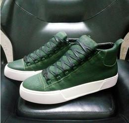 Высокое качество Арена обувь мужчины зеленый / красный/белый / черный праздник коллекция Highcut кроссовки мягкие морщинистые Geunine кожа плоские туфли my1789601 от Поставщики мягкие белые белые туфли
