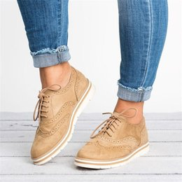 536f06b829d291 Women Flats Lace-Up Brogue Shoes Woman Platform Oxfords British Style  Creepers Cut-Outs Flat Casual Ladies Shoes Big Size 35-43