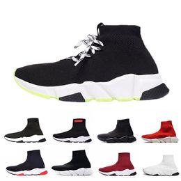 Meias on-line-Balenciaga sock shoes 2019 ACE Designer casual sapatos meia Speed Trainer Preto Vermelho Triplo Preto Moda Meias Trainer sapatos casuais des chassures 36-45