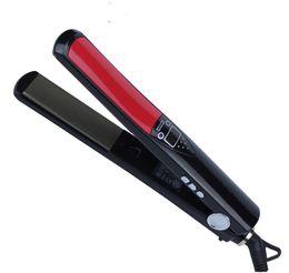 Capelli asciutti online-Piastra per capelli professionale per riscaldamento rapido Piastre per titanio Display LCD per capelli Bigodino per capelli Strumento per lo stiratura per ferro secco