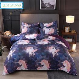 2020 conjuntos de cama ocidentais BEST. WENSD 2/3 pcs Super macio e confortável fundamento 3D Western Único duplo Roxo Unicorn Bed Cover Quilt define com fronhas conjuntos de cama ocidentais barato