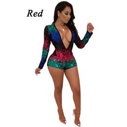 Combinaisons colorées barboteuses en Ligne-Body Sexy Femmes Coloré Paillettes Jumpsuit Barboteuses Femmes Deep V Cou Body À Manches Longues Body Xmas Party Discothèque Combishorts