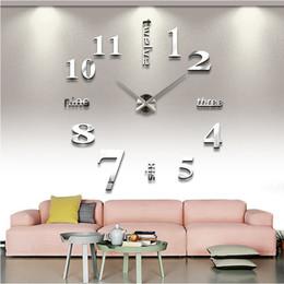 Stickers miroirs grand en Ligne-47inch Creative Horloges À Quartz De Mode Montres 3D Réel Grand Horloge Murale Se précipita Miroir Autocollant DIY Salon Décoration Murale