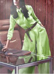 Pantalon large vert en Ligne-2019 européenne et américaine printemps nouvelle pomme verte simple mode lâche chemise à manches longues de couleur solide + pantalon décontracté à jambes larges