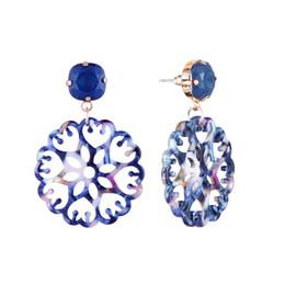 2019 flores de porcelana para joyería. Retro ahuecado flores diamantes cuelgan aretes para mujeres palacio lujo araña pendiente chino azul y blanco joyería de porcelana patrón flores de porcelana para joyería. baratos