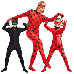 black music dress Coupons - Ladybug Big Girl Clothes Ready Cartoon Costumes Dress Up Halloween Cosplay Children Wig Stage Role Pockets Eye Mask Noel the black cat