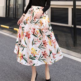 tamanho mais tamanho mulheres Desconto Novo Verão Feminino Boho Saias Longas Chiffon Mulheres Vintage Cintura Alta Imprimir Plissado Plus Size Confortável Alta Feminina Roupas