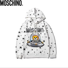 italy luxury Mosch 360 g cotton Pullover sanitary wardrobe full of stars digital direct jet printing black and white M XXL