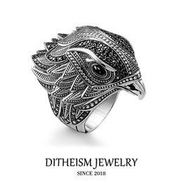 anillos de plata de ley para niños Rebajas Toda SaleCocktail Anillo elegante de la joyería 925 del regalo del partido del punk plata de ley para hombres de las mujeres muchachas del muchacho amante Falcon Nueva Moda